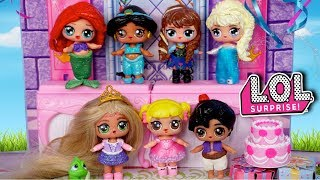LOL Disney Princess Birthday Party with Baby Goldie - Barbie Rapunzel Family Video