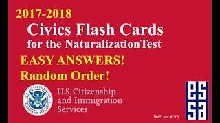 RANDOM ORDER - Easy Answer Civics Questions for U.S. Citizenship Test