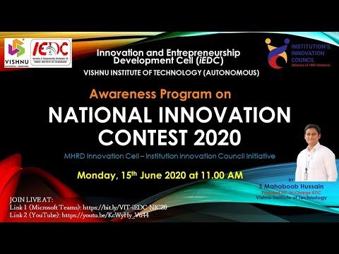 National Innovation Contest 2020 || MHRD || IIC || iEDC || Vishnu Institute of Technology