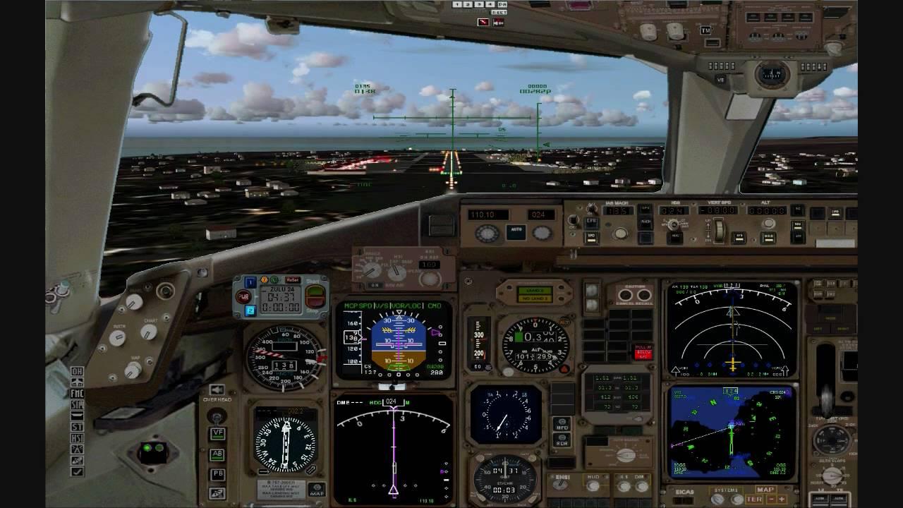 Flight Simulator 2004 767-200 ILS at Kahului (PHOG) on Maui
