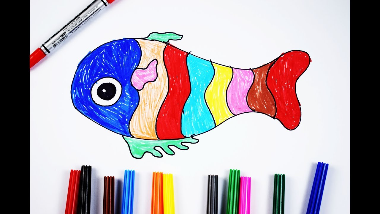 How To Draw A Colorful Fish For Children Easy And Step By Step - YouTube