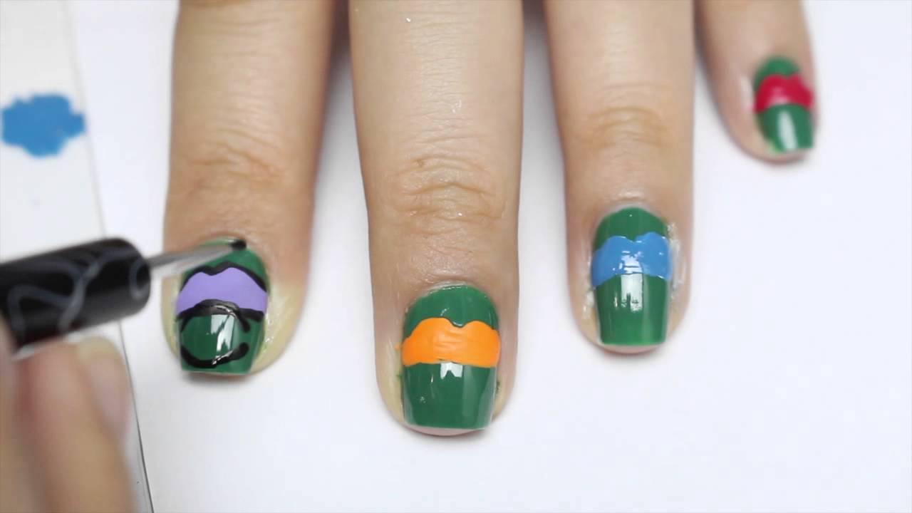 tmnt nails,teenage mutant ninja turtles nails - YouTube