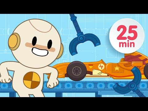 Finley is building a RACE CAR in his car factory! | Car Cartoons for Kids!