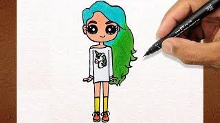 Como desenhar BONEQUINHA Tumblr Cabelo Verde , How to Draw