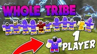 WHOLE TRIBE VS ONE PLAYER!! (INSANE BATTLE) - Roblox Booga Booga