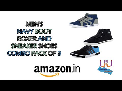 MEN'S NAVY BOOT BOXER AND SNEAKER SHOES COMBO PACK OF 3 UNBOXING
