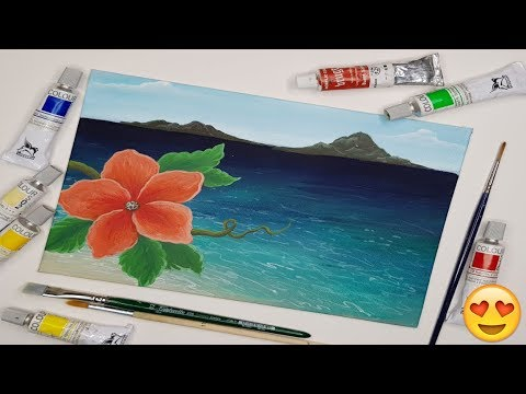 🌺Painting Hibiscus Flower on Tropical Beach - beginner Acrylic Paint Tutorial