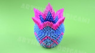 Origami vase from pieces of paper ♡ DIY How to make an origami vase 3D Tutorial