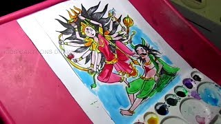 How to Draw Goddess Durga with ten hands Drawing for Kids