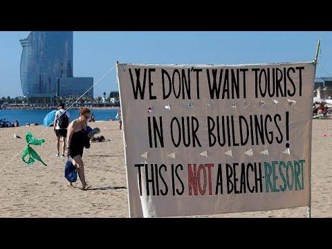 Barcelona beach protest
