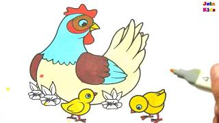 Coloring Animals - Chicken and Flowers Coloring - Join Kids
