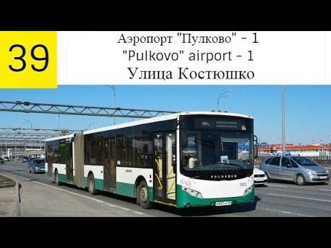 """Автобус 39 """"Аэропорт Пулково-1.-ул. Костюшко""""."""
