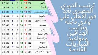 جدول ترتيب الدوري المصري بعد فوز الأهلي علي وادي دجله وترتيب الهدافين ومواعيد المباريات القادمة