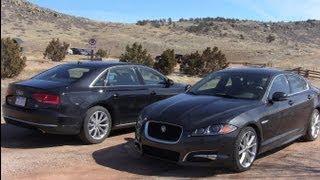 2012 Audi A8 L versus Jaguar XF Mashup Drag Race Review