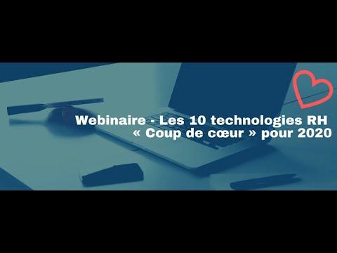 Webinaire - Les 10 technologies RH «Coup de cœur» pour 2020