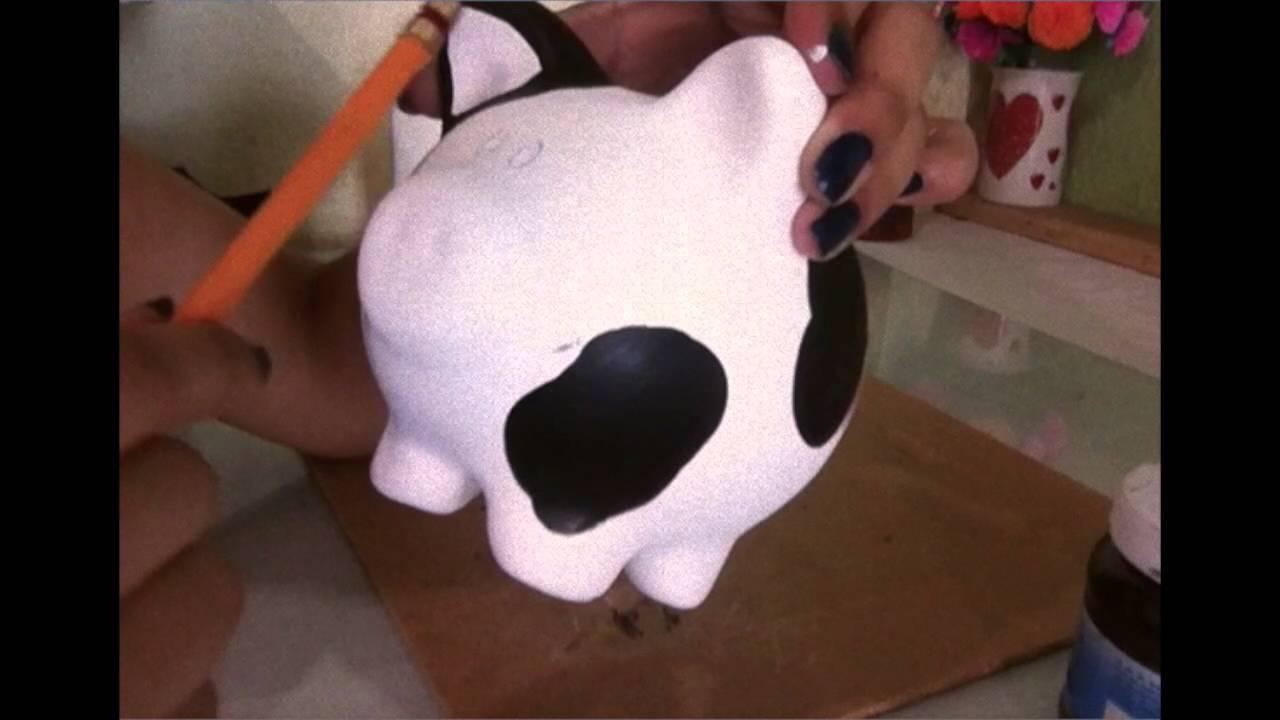 Como pintar un puerco de cer mica vaca youtube - Como pintar un radiador ...