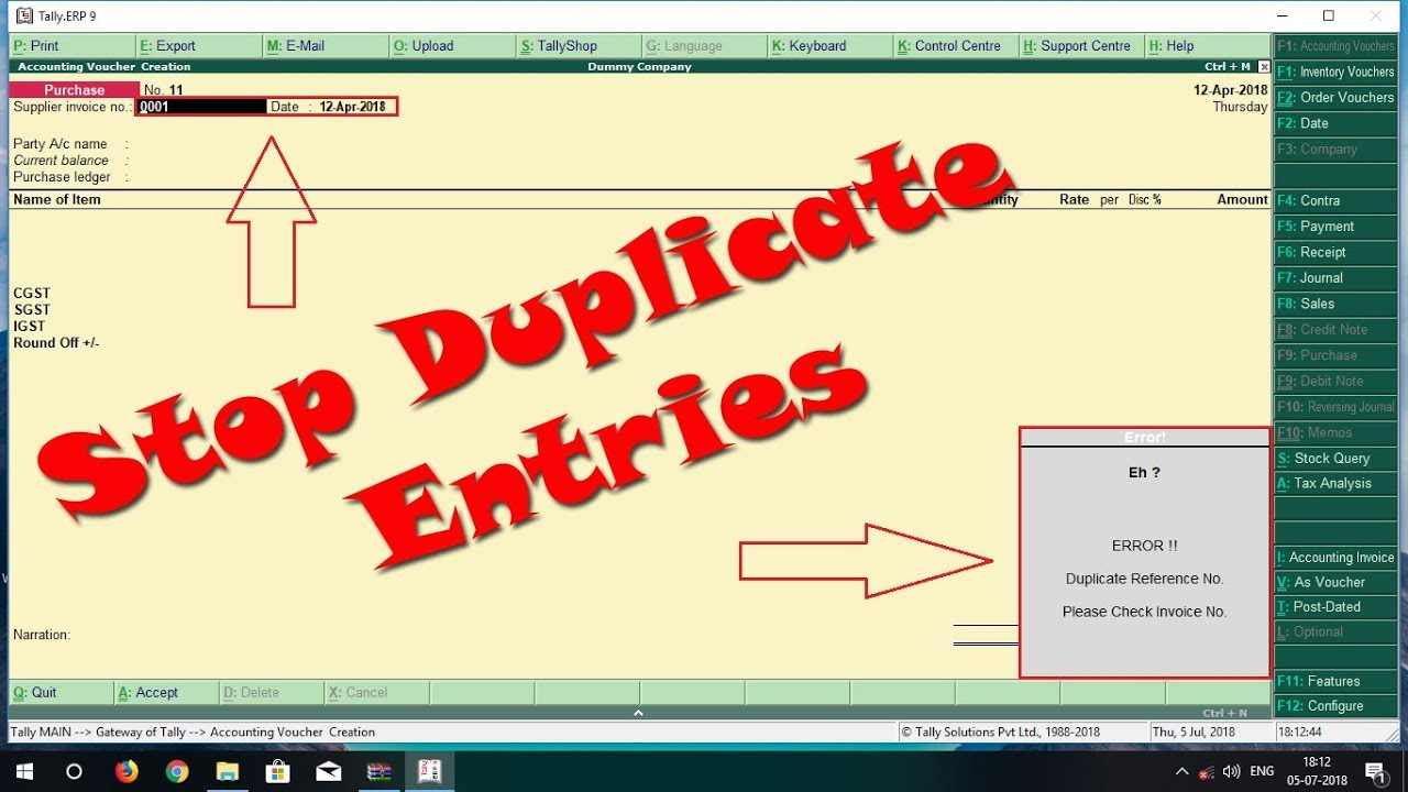 Stop Duplicate Purchase Entries   Explore Busy   Tally TDL