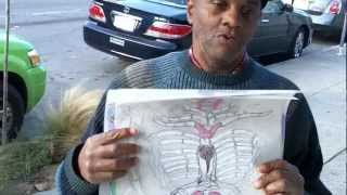 Outsider Artwork: Alien reincarnated Barry C Paul with anatomical alien drawings.