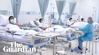 First footage of rescued Thai boys in hospital thumbnail