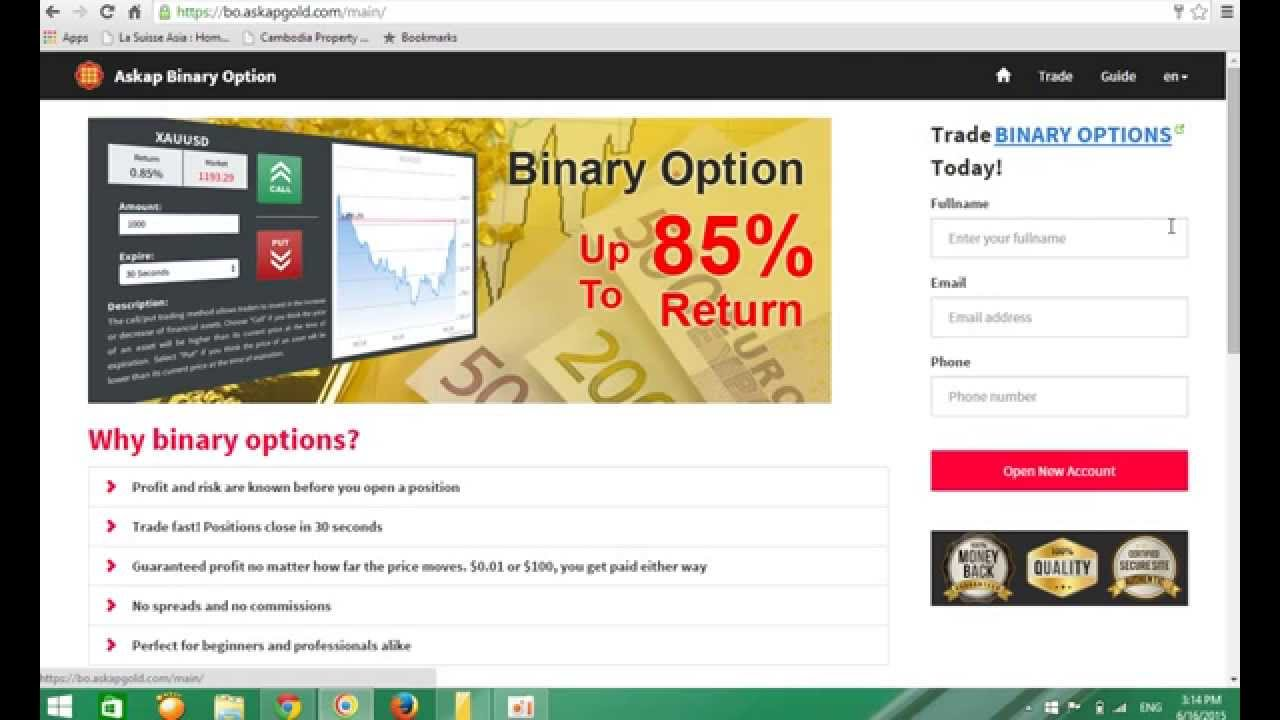 Open demo account binary options