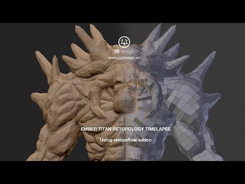 P2DESIGN - Ember Titan retopology timelapse using Retopoflow addon