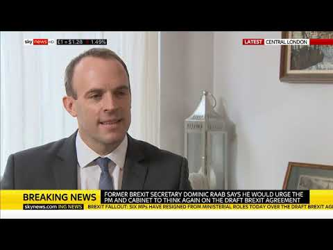Dominic Raab speaks to Beth Rigby after he resigns from Cabinet
