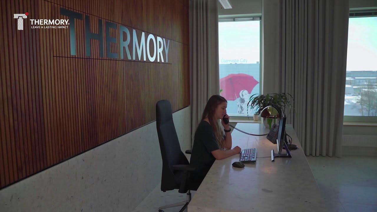 Thermory office - real wood interior wall panels and flooring