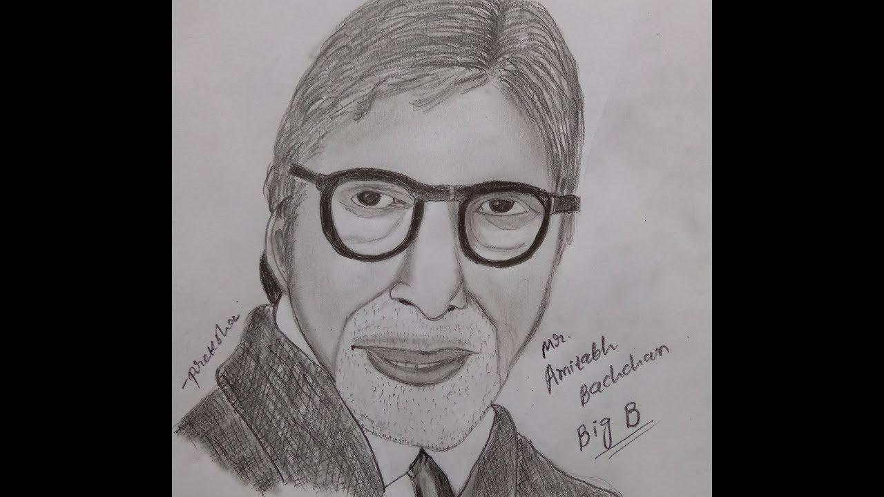 Drawing Amitabh Bachchan Sketch|KBC | For Beginners Easy ...