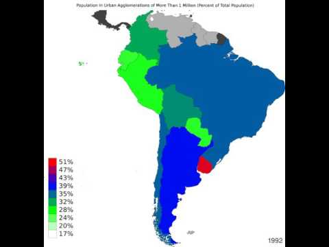 South America - Population In Urban Agglomerations Of More Than 1 Million - Timelapse