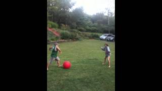 getting hit by big red ball
