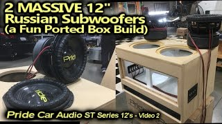 "Ported Box Build - 2 MASSIVE Russian Carbon Fiber 12"" Subwoofers - Wired up & Test listen video 2"