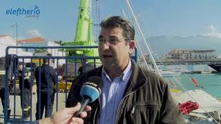 Επιχείρηση ανέλκυσης του βυθισμένου ιστιοφόρου από το λιμάνι της Καλαμάτας