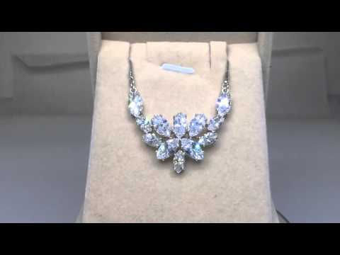 'Blossoming of Love' Marquise cut Swiss CZ Diamond Bridal Pendant Necklace