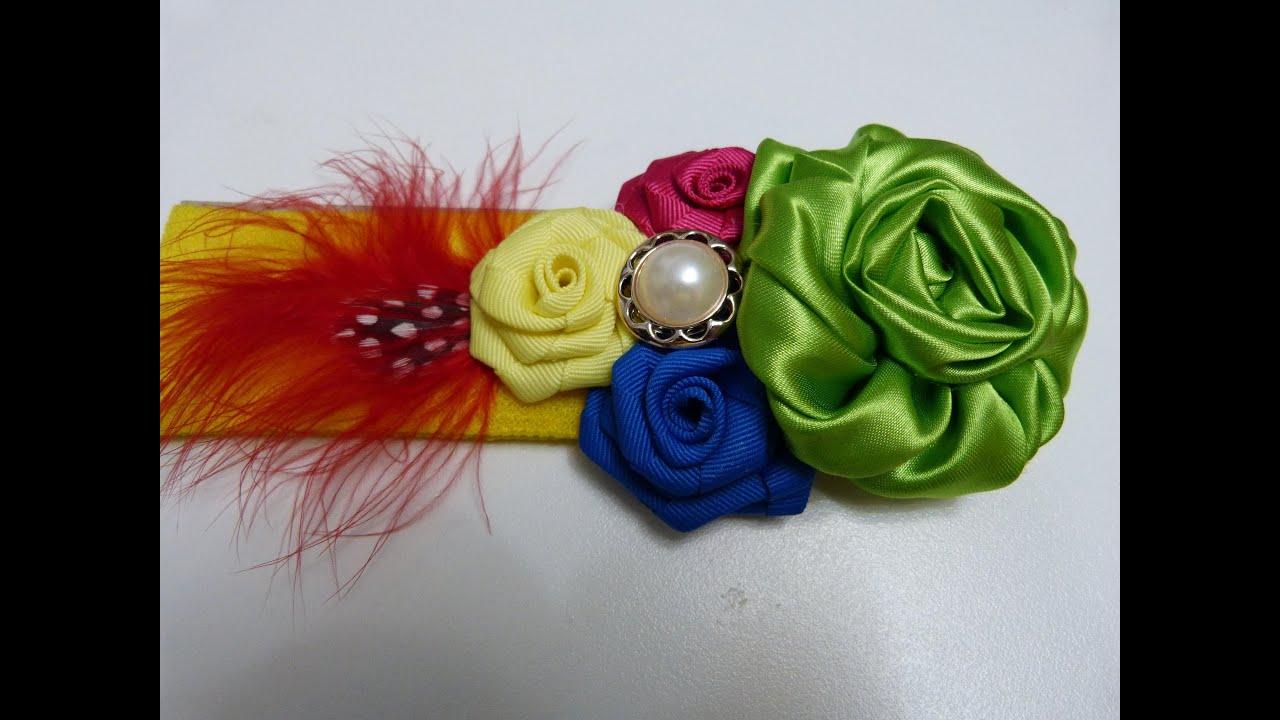 Como Hacer Flores de tela y listón, How to Make Fabric and Ribbon ...