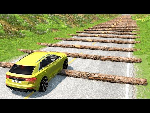 Cars vs 100 Fallen Trees – BeamNG.Drive