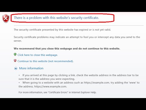 SOLVED: There is a problem with this website's security certificate Internet Explorer