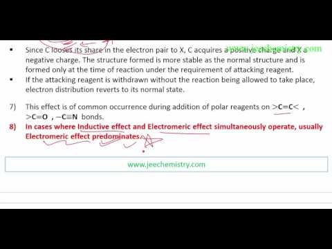 13. Electromeric  Effect Introduction,type - Positive and Negative Electromeric Effect