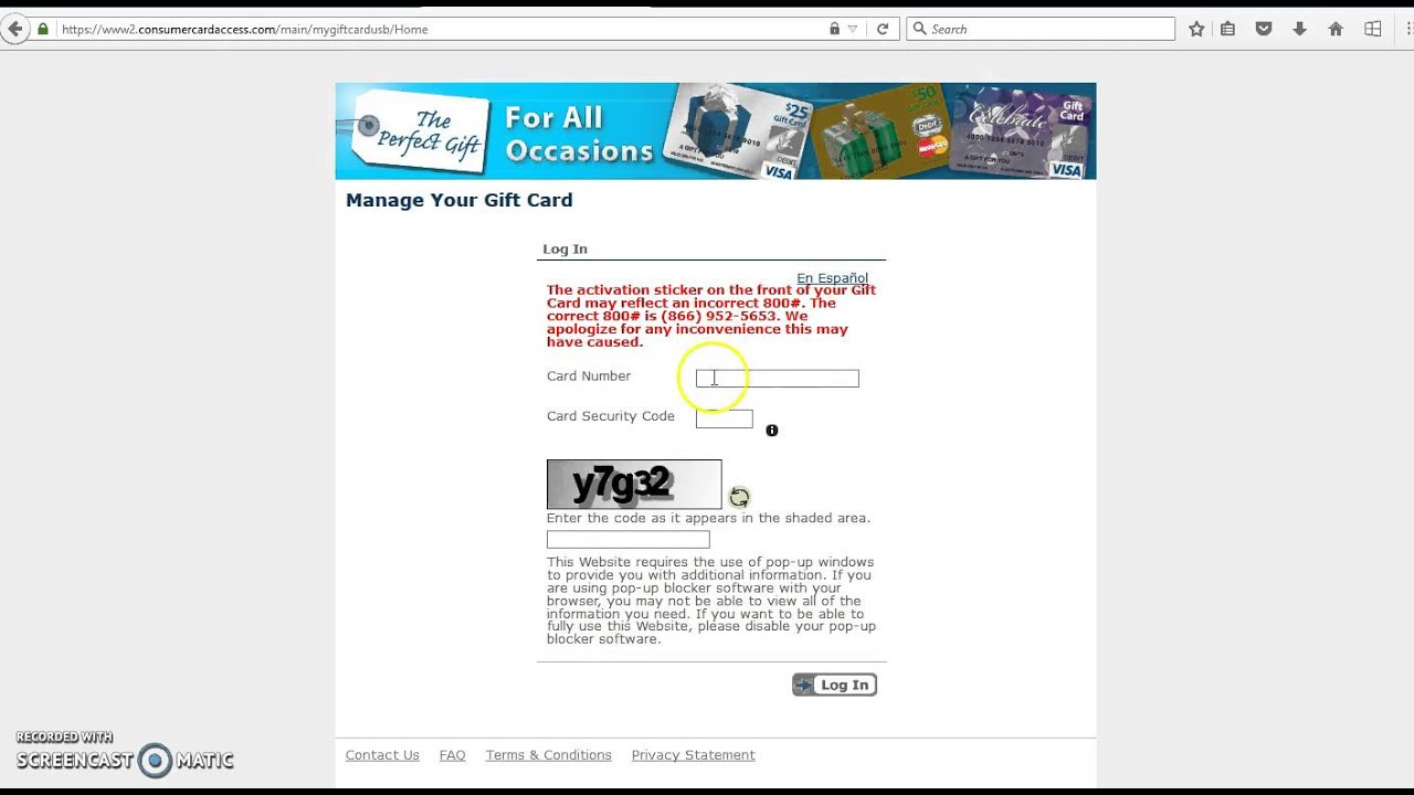 mygiftcardsite login to check