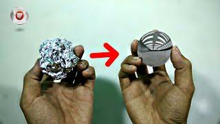 Hanya dengan Aluminum Foil hasilnya jadi seperti ini - Japanese foil ball polishing challenge
