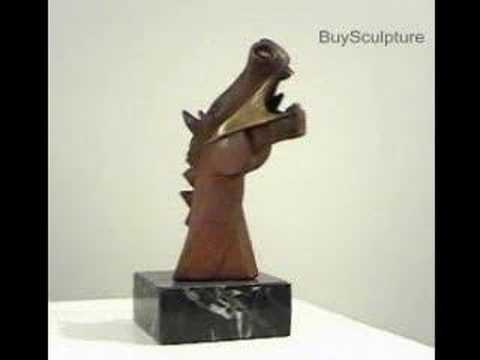 Cubist Horse of Guernica (Oxid. Bronze) - Sculpture