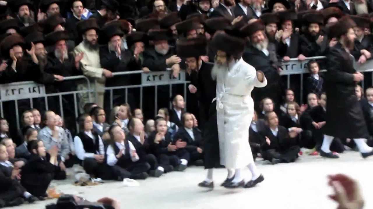 Satmar Rebbe dancing Mitzvah tantz at his granddaughters wedding in Israel.