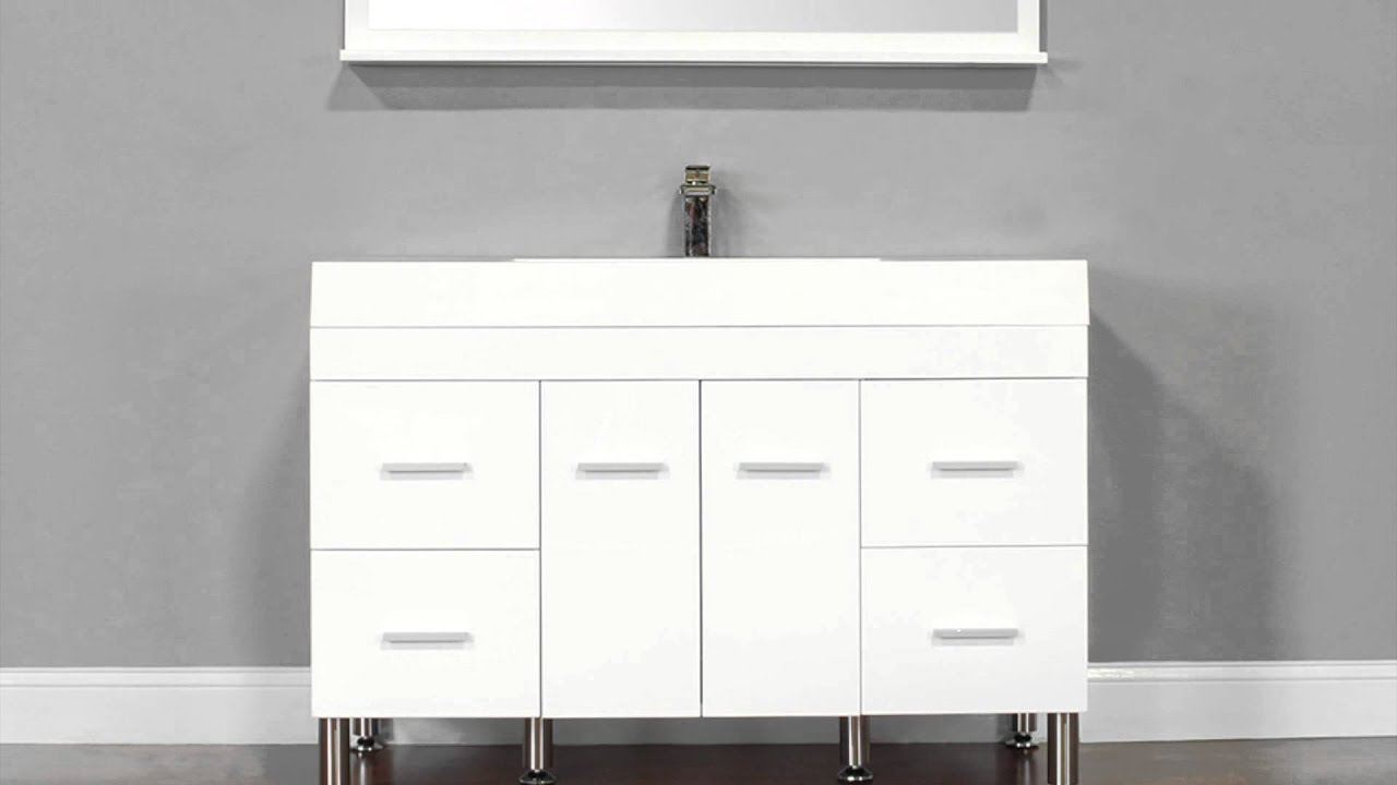Modern white bathroom vanities - Alya Bath At 8042 W 47 Single Modern Bathroom Vanity White Youtube