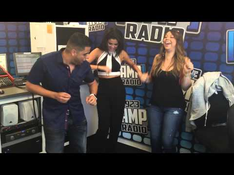 Selena Gomez dancing Merengue with Shoboy In The Morning on 92.3 Amp Radio NYC w/ Nina