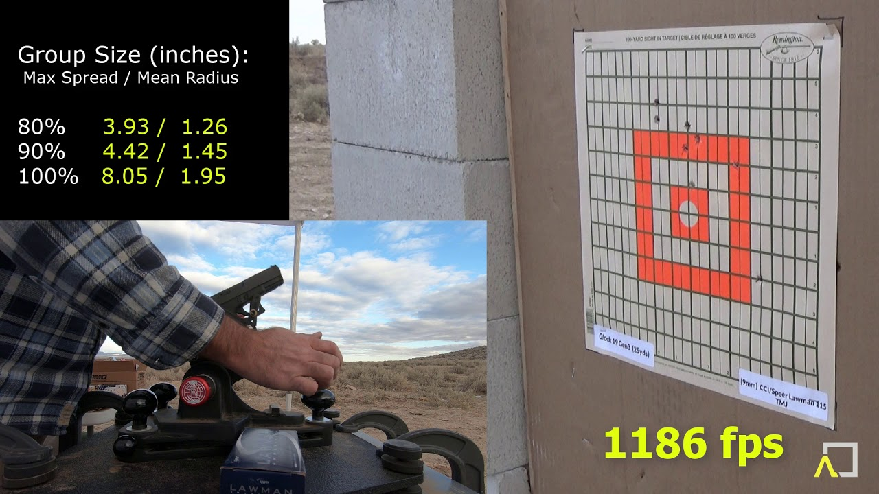 ACCURACY TEST: Glock 19 Gen3 with CCI Speer Lawman 115gr TMJ