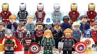 Captain Marvel Iron Man Thor & Captain America Avengers Assemble Unofficial LEGO Minifigures