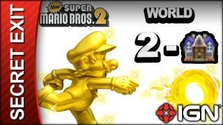New Super Mario Bros. 2 - Secret Exit Guide - World 2-Haunted House - Walkthrough