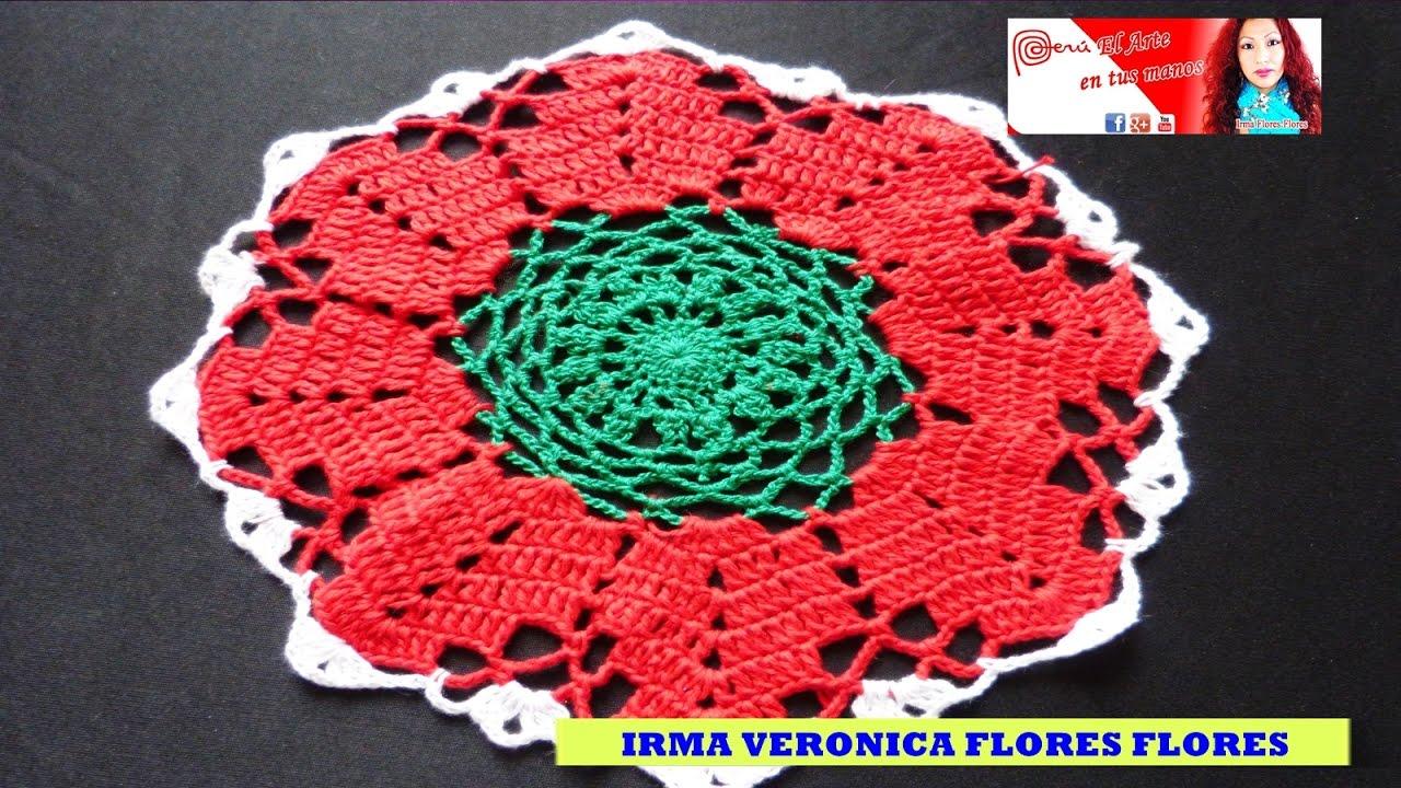 Como tejer este tapete peque o de navidad tejido a crochet - Como hacer tapetes de ganchillo ...