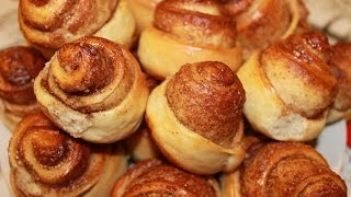 Булочки с корицей (из постного дрожжевого теста).Очень вкусные.(Homemade cinnamon rolls)