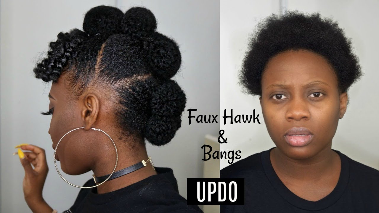 Easy Protective Style Faux Hawk Updo With Afro Bangs On Short