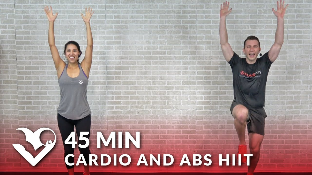 45 Min Cardio and Abs HIIT at Home - 45 Minute Cardio Workout No Equipment